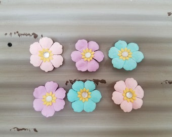 Paper Flower Magnets.  Set of Flower Magnets.  Flower Magnet.