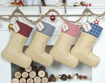 Personalized Christmas Stocking,Burlap Stocking Christmas,Red/Blue Plaid Christmas Stocking,Striped Christmas Stocking.