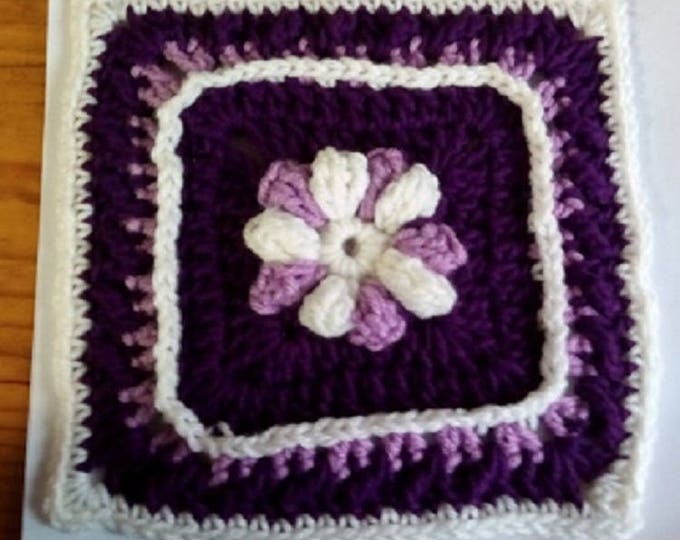 "8"" Digital PDF Downloadable Crochet Pattern, Instructions for Crochet Square, ""Framed Flower Square"""
