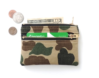 Camo Wallet Pouch Double Zipper Coin Purse Canvas