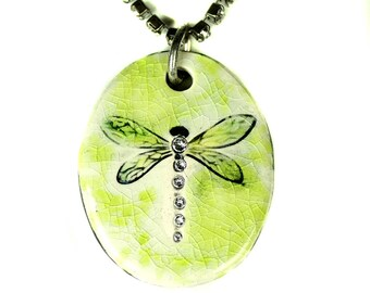 Dragonfly Sparkle Surly Necklace with Swarovski Crystals in Light Green