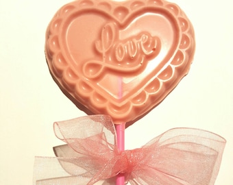 Valentines, Love lolly in strawberry chocolate