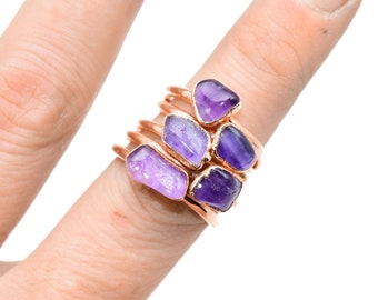 Raw PURPLE FLUORITE ring // Crystal ring / Fluorite Ring / Fluorite stone ring / Purple Fluorite Ring / healing crystal/ Fluorite / Jewelry