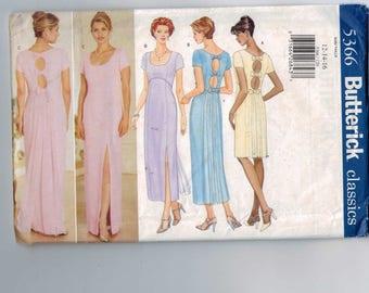 1990s Vintage Misses Sewing Pattern Butterick B5366 5366 Misses High Waisted Open Back Slit Slim Dress Gathered back Bow Size 12 14 16 UNCUT