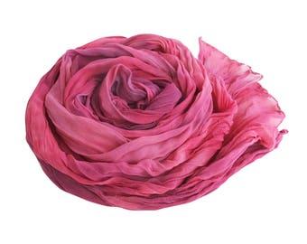 Purple scarf, pink and purple scarf, silk scarf, silk chiffon, crinkled silk, fuchsia scarf, scarf gift for wife, trendy boho scarf
