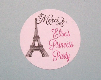 Birthday, SWEET 16, Quinceanera Favor Stickers - Eiffel Tower Thank You Round Labels - Merci - You Choose the Size