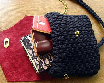Bag of knitted yarn,knitted bag with leather flap,black bag with burgundy flap,Handmade bag of knitted yarn