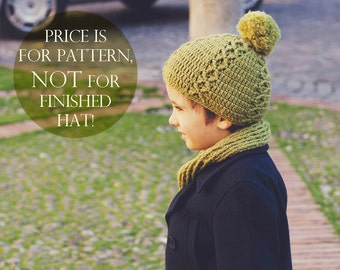 Crochet hat PATTERN - Rhomb patterned Hat (sizes baby to adult)
