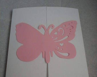 Pink and White Butterfly invitation