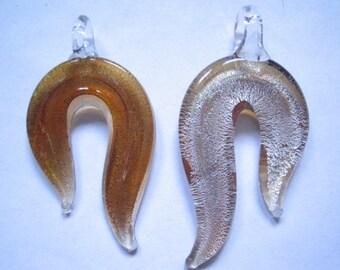 Murano style glass wave pendant