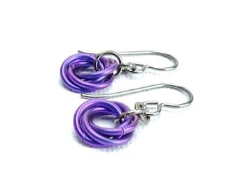 Niobium Earrings Indigo Mobius, Hypo Allergenic Earwires No Nickel Earrings for Sensitive Earlobes, Chainmaille Flower Titanium Earrings