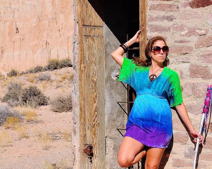 Featured listing image: Tie Dye Top, OOAK Shirt, Small Kimono Dress, Festival Gear, Ladies Top, Hippie Dress