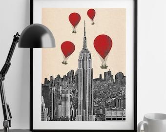 Empire State Building  Red Hot Air Balloons Art Print Acrylic Original Painting Print Wall Art Wall Decor Wall Hanging New York