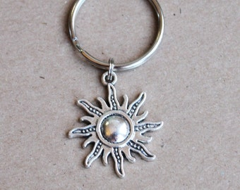 Sun Keychain.  Sun.  Here Comes The Sun.  You Are My Sunshine, brighten my day, Happy,  you make me smile, friendship gift,
