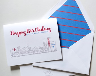 Chicago Cubs Skyline Birthday Card - Wishes Come True