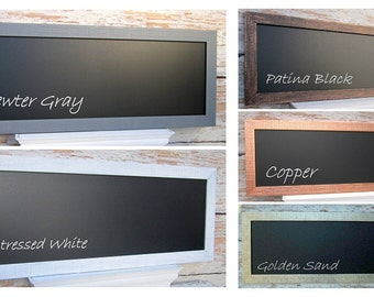"MODERN NARROW CHALKBOARD  Modern Home Magnetic Chalk board 39""x16"" Distressed Framed Chalkboard Magnetic Rustic Kitchen Framed Chalk board"
