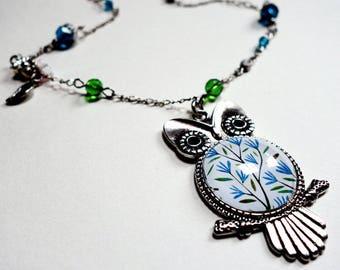 OWL necklace, blue flowers CCH001A