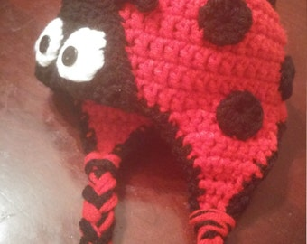 Cute 3-6 month Ladybug Hat with Ear Flaps