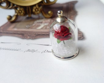 Romantic Red Rose Glass Globe Necklace - Black Gift box included