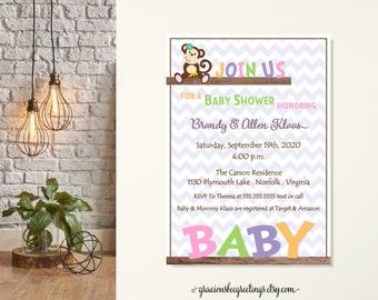 Monkey Baby Shower Invitations, Little Monkey Baby Shower, Couples Baby Shower, Mod Monkey Baby Shower, Monkey Themed Shower, Monkey Love