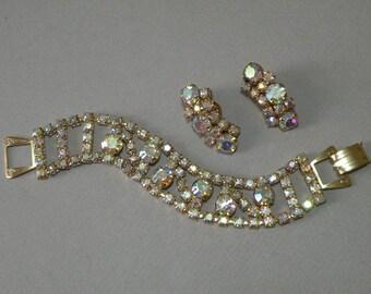 Vintage Crystal Rhinestone Bracelet & Earring Set