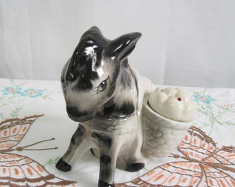 Vintage Salt and Pepper Shakers Burrow Carrying Baskets Collectible Shakers Donkey with Baskets Free Shipping See Details