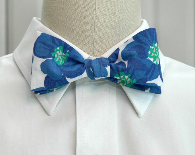 Men's Bow Tie, Buttercups blue/green/white Lilly print, cobalt blue bow tie, wedding bow tie, groom bow tie, groomsmen gift, prom bow tie