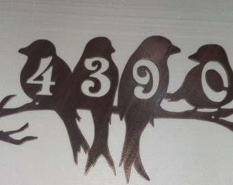 Metal House Number, Perched Birds Sign