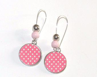 Pink long cabochon polka dot silver Stud Earrings
