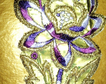 1920s Art Deco Floral Appliques Faux Leather Purples Silk Embroidery Old Store Stock Milinery