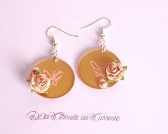 Butterfly and rose, gold and coral earrings