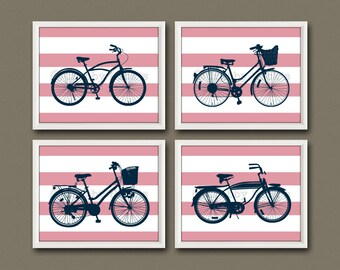 8x10 (4) BICYCLE PRINTS - Nursery Art, Nursery Decor, Children's Art - Vintage Bicycles, Transportation