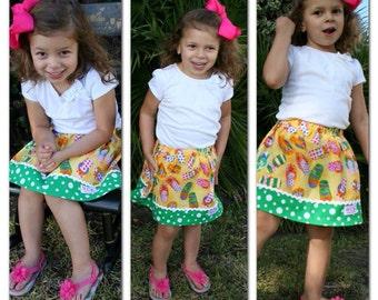 Robert Kaufman Flip Flop Fun  Skirt    (18 mos, 2T, 3T, 4T, 5, 6, 7, 8, 10)