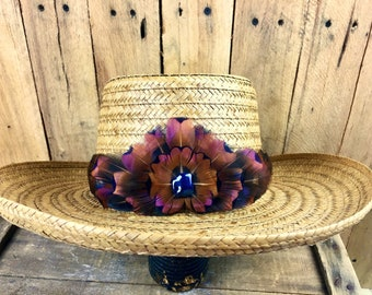 Western feather hat band on leather small crown, Pheasant feathers in black & brown - Cowboy hat, Panama Straw hat