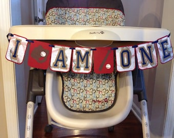 Vintage I AM ONE Baseball Theme Highchair Banner, Vintage Baseball themed first birthday party, rookie of the year first