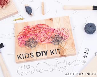 Kids DIY string art kit / BOYS SET / Batman, car, mustache / educational toy / kids craft kit / kids toys / gift for kids