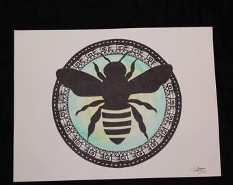 Honeybee, mandala, watercolour and ink