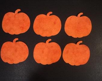 "Die Cut Applique Shapes.  Set of 6,  Dark Orange Swirl Fabric, 4 x 5"" Pumpkin Shapes.  Left-facing.  Fusible (Iron On)."