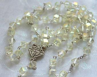 Yellow Knights of Columbus Crystal Rosary