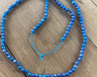 Handmade Peacock Glass Bead Knotted Necklace
