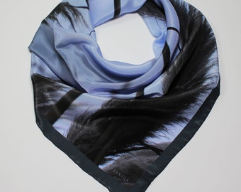 Hand rolled printed silk scarf
