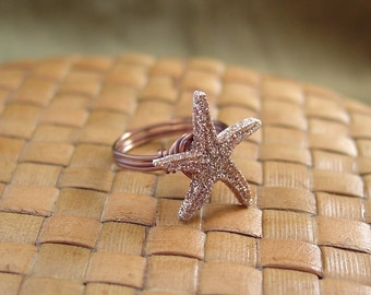 Starfish Button Ring - Just For Fun - Made to Order - Any Size