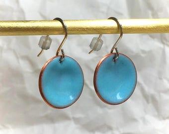 Robins egg blue enamel earrings coloful hand made circle earrings