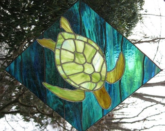 Sea Turtle - stained glass panel- MADE TO ORDER-