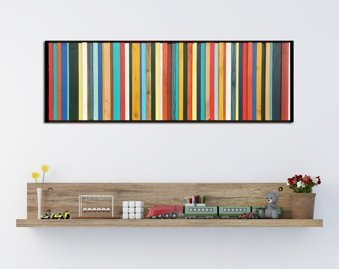 Brighton - Reclaimed Wood Wall Art in Red, Yellow, Green, and Teal - Modern Wood Art Abstract Wood Art Minimalist Art