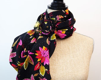 Black Infinity Scarf, Infinity Scarf, Floral Scarf, Pink Scarf, Yellow Scarf, Red Scarf, Summer Scarf, Light Scarf