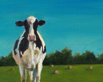 Cow Painting - Sophia Study - Paper Giclee Print of an original painting by Cari Humphry