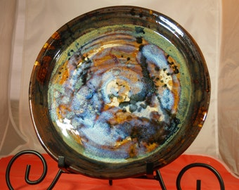 """10 1/2-inch Hand Thrown Stoneware Plate,"""" Blue Frenzy"""",Crystalline Coloration, Rich Variegated Blues, Greens, Browns, and Black"""