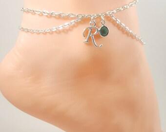 Birthstone Personalized Initial Anklet, Swarovski Crystals, Birthday Jewelry, Kinky Lifestyle Jewelry