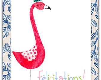 Greeting card! Congratulations - Flamingo handmade 12.5 cm x 17 cm